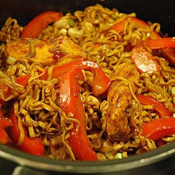 wok recept kyckling nudlar